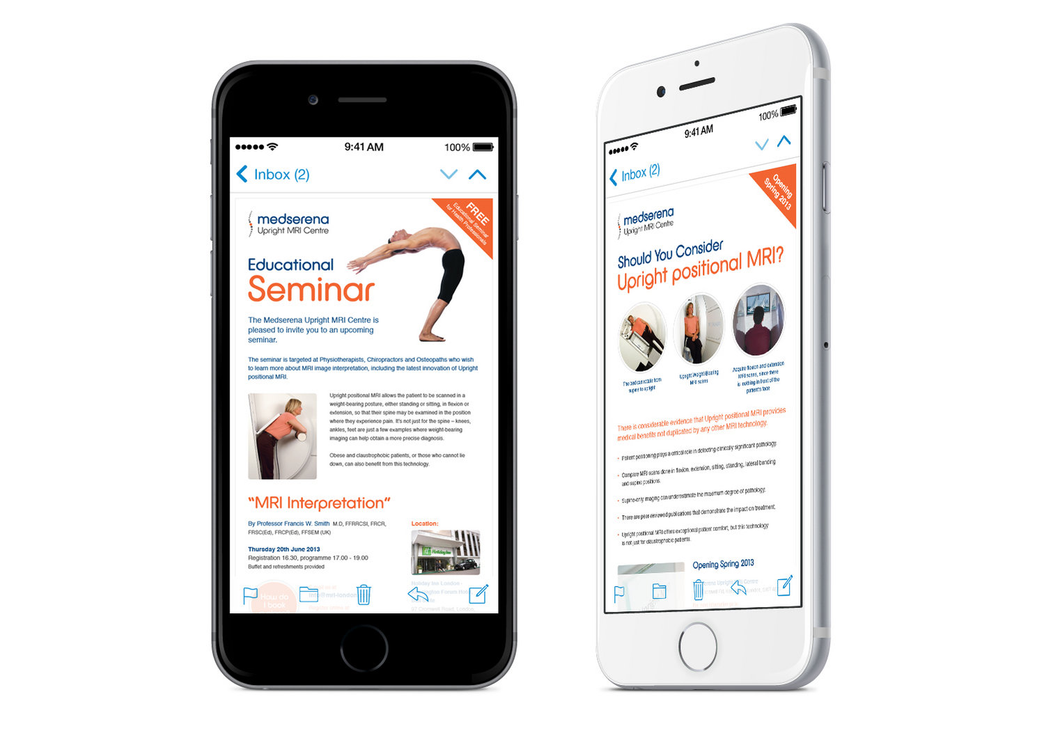 Medserena email design shown on smart phones